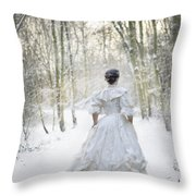 Victorian Woman Running Through A Winter Woodland With Fallen Sn Throw Pillow