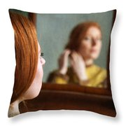 Victorian Woman Using A Dressing Table Mirror  Throw Pillow