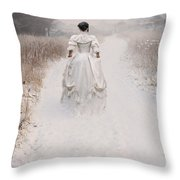 Victorian Woman Walking Through A Winter Meadow Throw Pillow