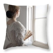 Victorian Woman With A Fan At The Window Throw Pillow