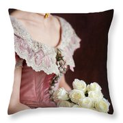 Victorian Woman With Roses Throw Pillow
