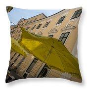 Vienna Street Life - Cheery Yellow Umbrellas At An Outdoor Cafe Throw Pillow