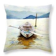 Vietnam Boat Throw Pillow