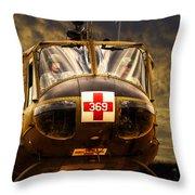 Vietnam Era Medivac 369 Helicopter Throw Pillow