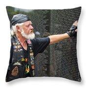 Vietnam Veteran Pays Respect To Fallen Soldiers At The Vietnam War Memorial  Throw Pillow