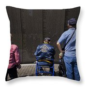 Vietnam Veterans Paying Respect To Fallen Soldiers At The Vietnam War Memorial Throw Pillow