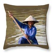 Vietnamese Boatwoman 02 Throw Pillow