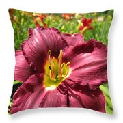 Viette's Daylily. Dark Purple 01 Throw Pillow