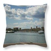Vieux Port View Marseille Throw Pillow