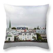 View Across The Tjornin Throw Pillow