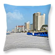 View Down A Quiet Beach Throw Pillow by Susan Leggett