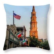 View Down Church Street Throw Pillow