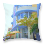 View Down Collins Ave Throw Pillow