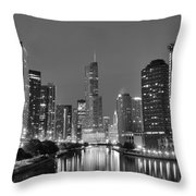 View Down The Chicago River Throw Pillow