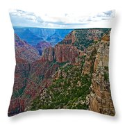 View Five From Walhalla Overlook On North Rim Of Grand Canyon-arizona Throw Pillow