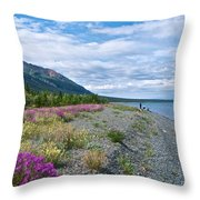 View Four Kluane Lake From Cottonwood Campground Near Destruction Bay-yk Throw Pillow