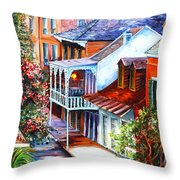 View From A Bourbon Street Balcony Throw Pillow