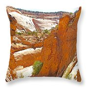 View From Above Capitol Gorge Pioneer Trail In Capitol Reef National Park-utah Throw Pillow