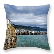 View From Back Beach - Lyme Regis Throw Pillow