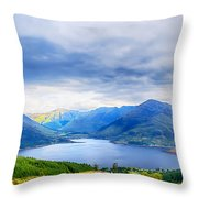 View From Bealach Ratagan To The Five Sisters Of Kintail Throw Pillow