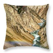 View From Lower Falls Of The Yellowstone River  Throw Pillow