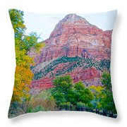 View From South Campground In Zion Np-ut Throw Pillow
