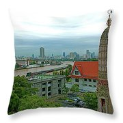 View From Temple Of The Dawn-wat Arun In Bangkok-thailand Throw Pillow