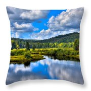 View From The Green Bridge In Old Forge Ny Throw Pillow