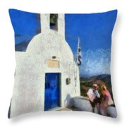 View From The Top Of Serifos Island Throw Pillow by George Atsametakis