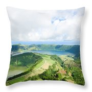 View From The Top Of Sete Cidades Throw Pillow