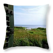 View From The Window At East Point Light Throw Pillow