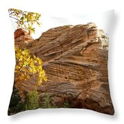 View From Zion-mount Carmel Highway In Zion Np-ut Throw Pillow