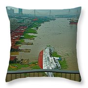 View Of A Ship On Its Side From A Bridge Near Bangkok-thailand Throw Pillow