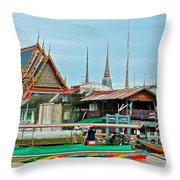 View Of A Temple From Waterway Of Bangkok-thailand Throw Pillow