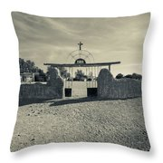 View Of Abandoned Church Gate Throw Pillow