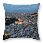 View Of Athens During Dawn Throw Pillow