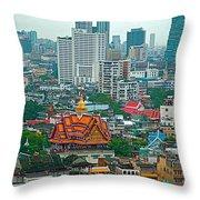 View Of Bangkok Buildings From Grand China Princess Hotel In Bangkok-thail Throw Pillow