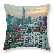 View Of Bangkok Near Dusk From Grand China Princess Hotel In Bangkok-thailand Throw Pillow