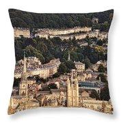 View Of Bath England Throw Pillow