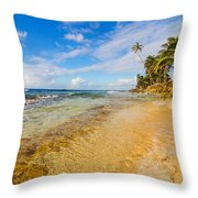 View Of Caribbean Coastline Throw Pillow