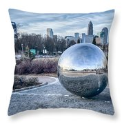 View Of Charlotte Nc Skyline From Midtown Park Throw Pillow