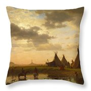 View Of Chimney Rock Ohalila .sioux Village In The Foreground Throw Pillow