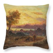 View Of Constantinople Throw Pillow