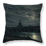 View Of Dresden By Moonlight Throw Pillow