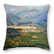 View Of Elbasan City Throw Pillow