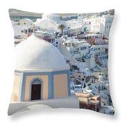 View Of Fira With Famous Church Santorini Greece Throw Pillow