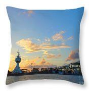 View Of Kaohsiung Harbor Entrance After Sunset Throw Pillow