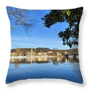 View Of Lambertville Nj From New Hope Pa-winter 1  Throw Pillow