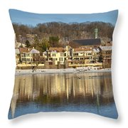 View Of Lambertville Nj From New Hope Pa-winter 2  Throw Pillow