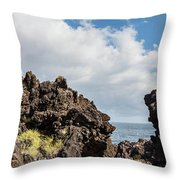View Of Lava Rock On The Coast, Pico Throw Pillow